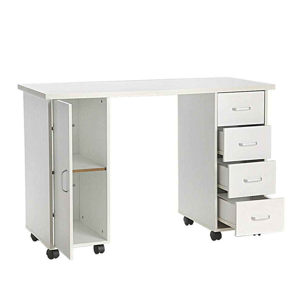 Thaweesuk Shop White Manicure Nail Table Station Desk Spa Beauty Salon Equipment With 4 Drawers New Density Board Electroplated Steel Frame 47 2 X 21 3 X 32 W X D