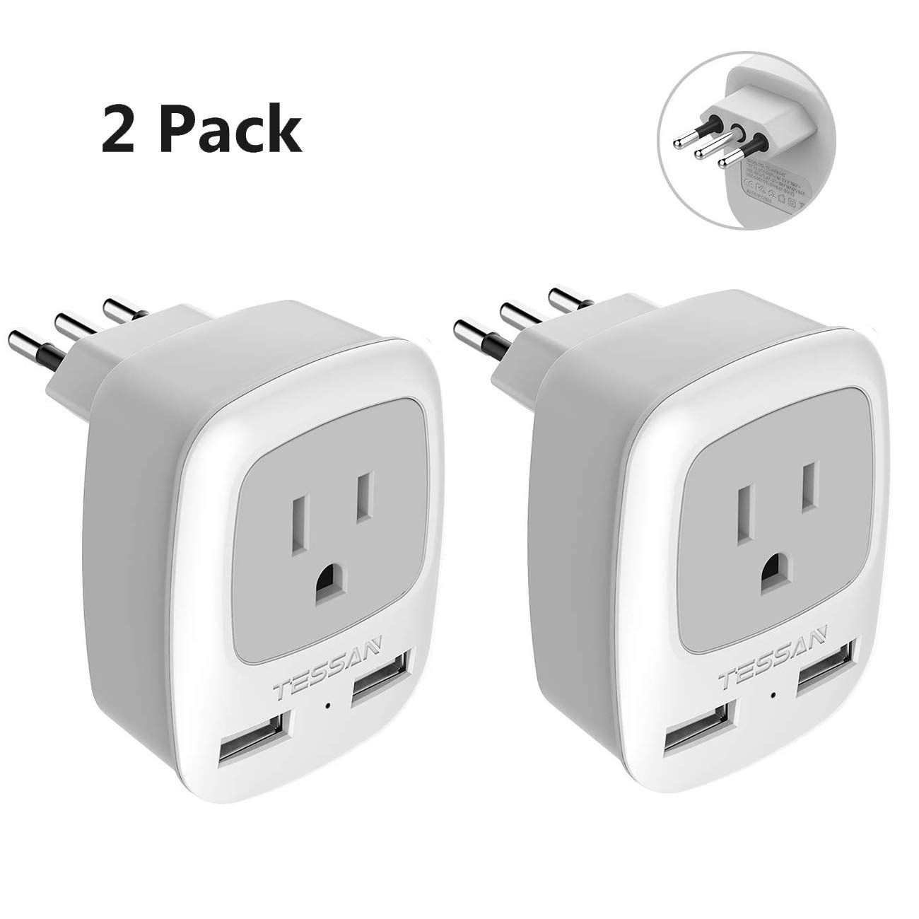 Italy Travel Plug Adapter 2 Pack, TESSAN 3 in 1 Grounded International Power Outlet Adaptor with 2 USB Ports for USA to Chile Uruguay (Type L)