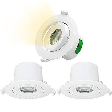 Lamparas Focos LED Plafones de Techo Empotrables Downlight LED Giratorio 9W Luz Calida 3000K 800Lm Agujero del Techo 85-90MM Dirección de Iluminación ...
