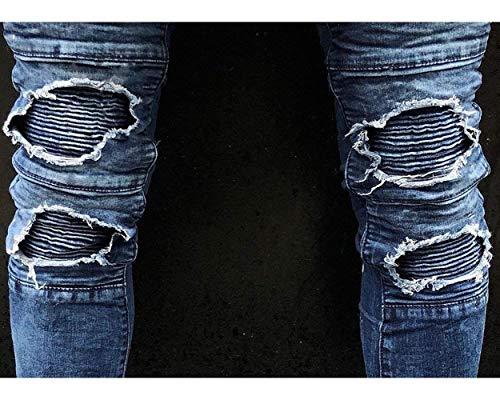Denim Holes Da Blau Ragazzo Uomo Chern Destroyed Pantaloni Strech Jeans Vintage Skinny Fit Slim TRqRg