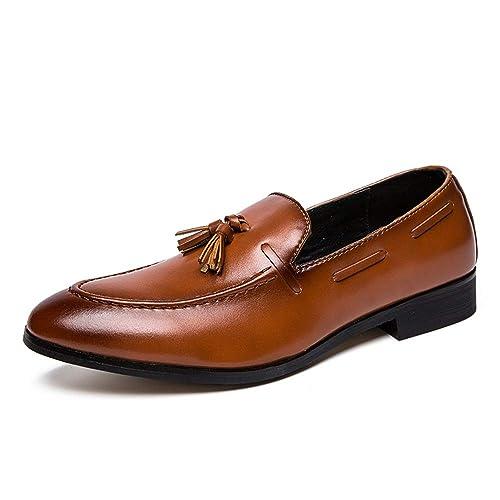 HILOTU Hombres Oxford Zapatos de Vestir Suela Exterior de Caucho de Estilo Británico Clásico Mocasines Sin Cordones Zapatos de Negocios: Amazon.es: Zapatos ...