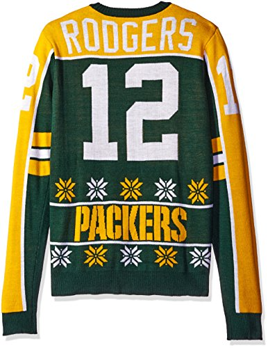 Green Bay Packers Rodgers A. #12 2015 Player Ugly Sweater Medium