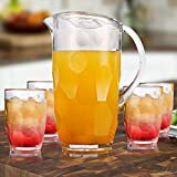 Pitcher Sets with 4 Cups - 2.2qt BPA-free Cold Water Pitcher with Lid - Shatterproof Plastic Pitcher for Iced Tea Juice Lemonade Beverage, Clear 2.1L