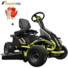 Ryobi 38 inches 100 Ah Battery Electric Rear Engine Riding Lawn Mower RY48111 and Toucan City Nitrile Dip Gloves (5-Pack)