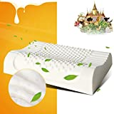 AILOVYO Standard Adult Size Latex Foam Pillow Cervical Orthopedic Natural with 100% Ventilated Particles Latex Foam Filler Neck Support