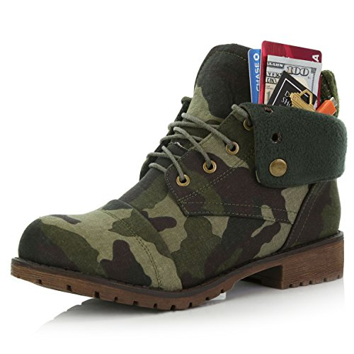 Pocket DailyShoes Boots Credit Style Bootie Camouflage Sweater Money Knife with Card Top Combat Cv Pocket Women's Up Ankle for Wallet pTnqpBr