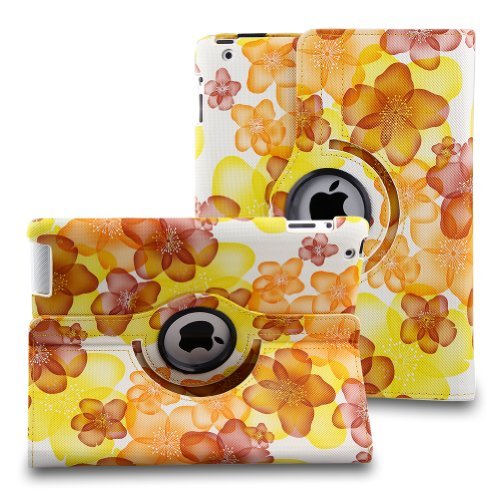 TOPCHANCES Auto Sleep/Wake Function 360 Degree Rotating Smart Case Cover for 9.7 inch Apple iPad 2/3/4 with a Stylus as a Gift- (Yellow Lucky Flower) (Flowers For Wake)