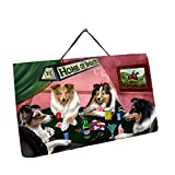 Home of Shelties 4 Dogs Playing Poker Photo Slate Hanging