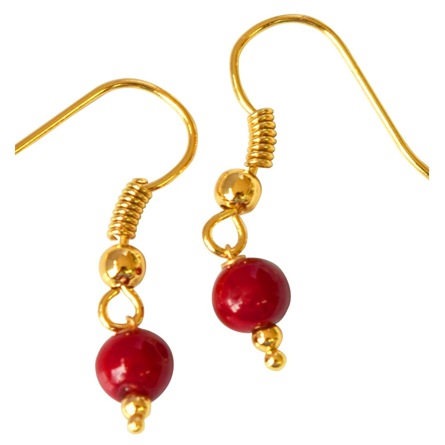 Round Shape Red Imitation Shell Pearl & Gold Plated Hanging Earrings
