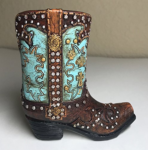 Polly House Small Western Cowboy Cowgirl Rustic Turquoise/Brown Cross Boot Vase Toothpick Garden Pot Pen Pencil Holder