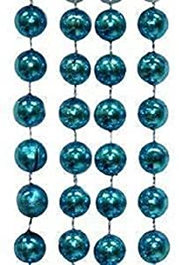 "Mardi Gras, Metallic Round Turquoise Beads Necklace, 12 mm, 60"", 10 Dozen (120pcs)."