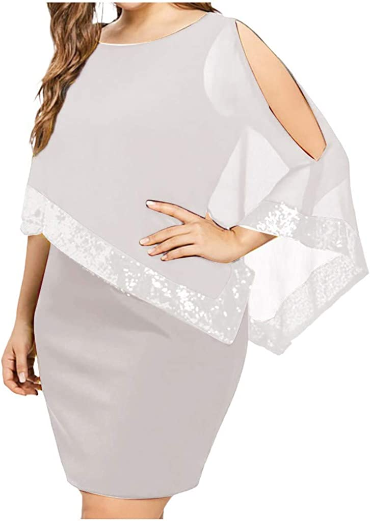 Kaitobe Womens Dresses Casual Cutout Shoulder Chiffon Bodycon Dress Elegant Cocktail Evening Party Dress Prom Gown