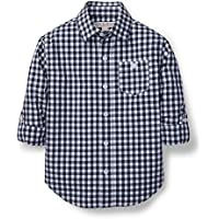 Hope & Henry Boys' Gingham Woven Poplin Button Down Shirt Made with Organic Cotton