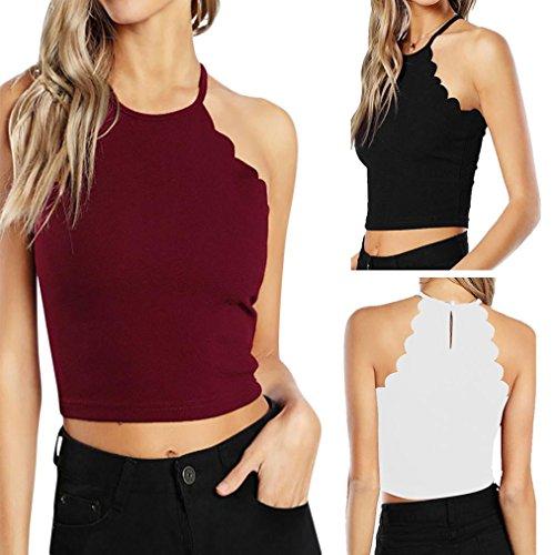 Shirt sans Sexyville Dbardeur Chemise Solide Femme Ete Chic Tops Blanc Manche Tee Camisole qqRxz6BCw