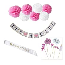 """Crazy Night """"It's a Girl"""" Baby Shower Decorations Kit- Includes Photo Booth Props, Banner, Sash Pom Poms"""