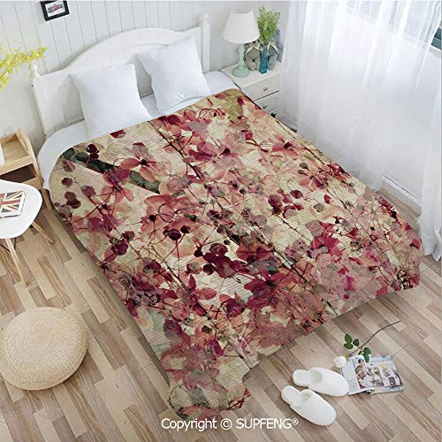FashSam Camping Blanket Grungy Effect Cherry Blossoms on Ribbed Bamboo Retro Background Floral Art Work(W39.4xL49.2 inch) Air Conditioning Comfort Warmth for Bedroom/Living Room/Camping etc