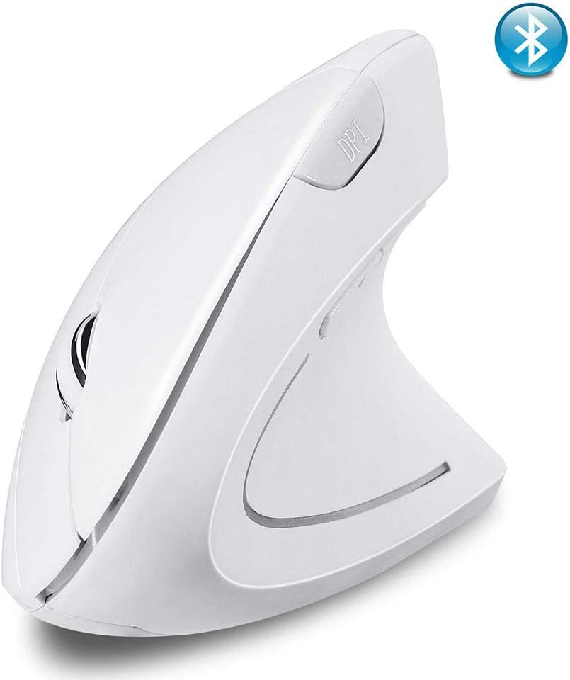 Vertical Ergonomic Optical Mouse GXF-Yueyin Wireless Bluetooth Mouse Suitable for Home Office Laptop Gaming Mouse Color : White