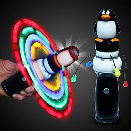 Windy City Novelties LED Light Up Penguin Galaxy Spinner Toy for Kids -