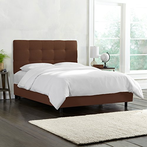 Skyline Furniture Brown Tufted Bed - Skyline Furniture Tufted Bed, King, Linen Chocolate