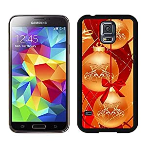 S5 Case,Christmas Golden Red Bowknot TPU Black Case For Galaxy S5,Samsung Galaxy S5 I9600 Protective