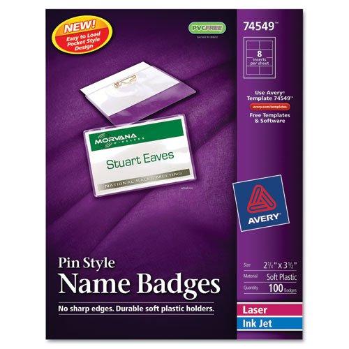 Badge Holder Kit w/Laser/Inkjet Insert, Top Load, 2 1/4 x 3 1/2, White, (Inkjet Badge Holder Kit)