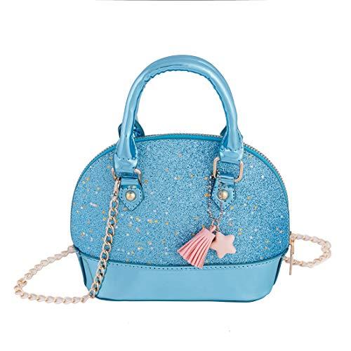 RockPanda Princess Little Girls Purses Satchel Crossbody Bag Wallet Shell Shape Handbags for Toddler Tote (Blue)