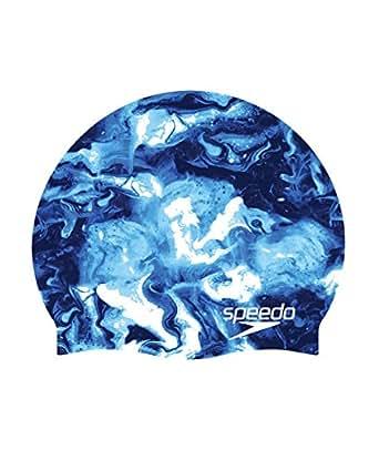 Speedo Elastomeric Printed Silicone Swim Caps, Blue, One Size