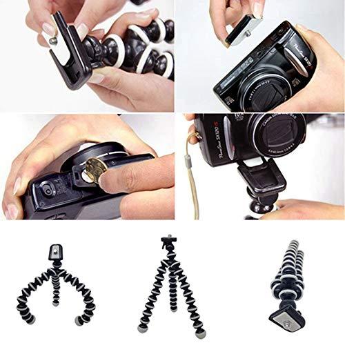 Negro Octopus Camera Tripod Soporte Flexible para tel/éfono Celular Soporte Selfie Stick con Placa de liberaci/ón r/ápida para tel/éfono Inteligente//c/ámara S
