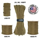 us army sewing kit - GOLBERG 550lb Parachute Cord Paracord - 100% Nylon USA Made Mil-Spec Type III Paracord - Used by The US Military - Multiple Colors & Lengths Available