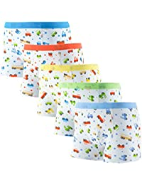 Boys Boxer Briefs Toddler Underwear Comfortable Soft Cotton with Assorted Colors 5 Pack