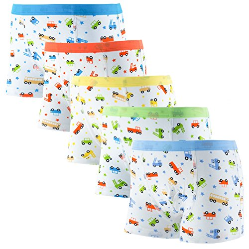 DOURA Boy's Comfortable Cotton Short Boxer Briefs Toddler Underwear 5 Pack (L 3-5 Year Old) Car Boxer Shorts
