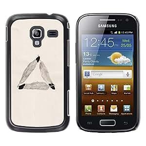 FECELL CITY // Duro Aluminio Pegatina PC Caso decorativo Funda Carcasa de Protección para Samsung Galaxy Ace 2 I8160 Ace II X S7560M // Feather Triangle Meaning Symbolism Beige