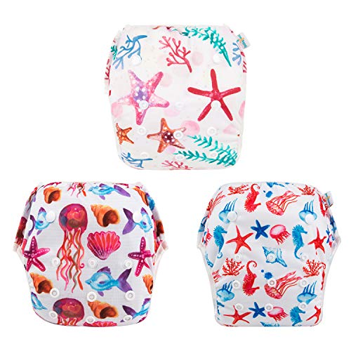 babygoal Baby Reusable Swim Diaper, Washable and Adjustable for Babies 0-2 Years, Swimming Lessons & Baby Shower Gift 3ZSD06