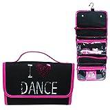 Pink Poppy I love dance toiletry bag roll-black