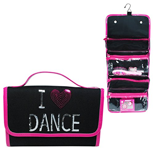 Pink Poppy I love dance toiletry bag roll-black by Pink Poppy