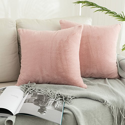 (Kevin Textile Instagram Most Popular Faux Angola Rabbit Hair/Suede Pillow Covers Cushion Case Square Throw Pillowcase for Sofa Car Bed, Set of 2, 18 x 18 Inch, Creole Pink)