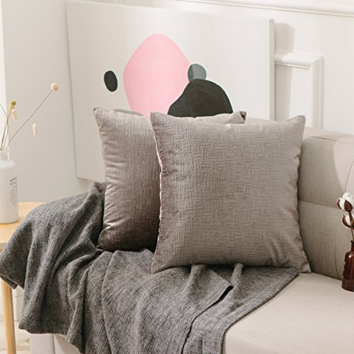HOME BRILLIANT 2 Pack Throw Pillow Cover Decor Deluxe Striped Velvet Cushion Cover Supersoft Handmade Decorative Pillowcase, 18x18(45cm), Silky Charcoal
