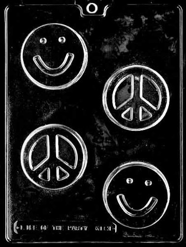 Peace Sign Candy (Smiley Face Peace Sign Chocolate Bar Teenage Birthday Party Favor Chocolate Soap Mold Mould Ships Same Day m300)