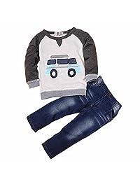 2pcs Baby Kids Boys Car Long Sleeve Shirt and Jean Pants Outfits Set