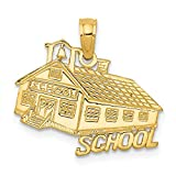 14k Yellow Gold School House Pendant Charm Necklace Career Professional Teacher Fine Jewelry For Women Gift Set