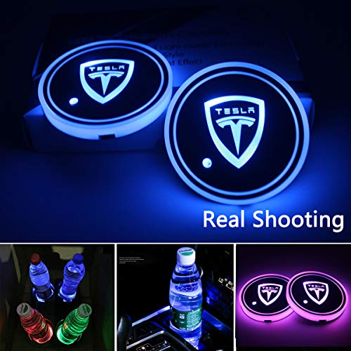 2pcs LED Car Cup Holder Lights, 7 Colors Changing USB Charging Mat Luminescent Cup Pad, LED Interior Atmosphere Lamp for (Tesla)