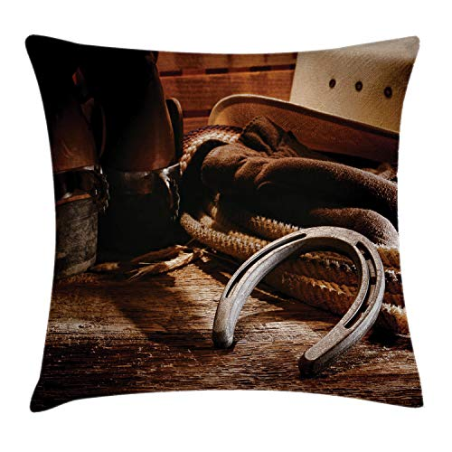 """Ambesonne Western Throw Pillow Cushion Cover, Boho Folklore Materials Classic Styled Roper Boots Life Heels View, Decorative Square Accent Pillow Case, 20"""" X 20"""", Brown"""