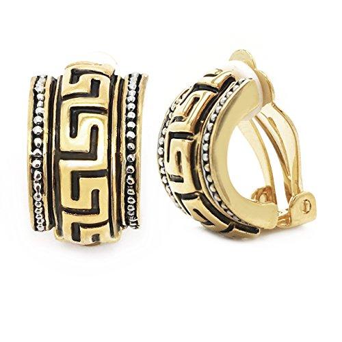- Antique Clip On Earrings Greek Key Half-Hoop Women Fashion Gold Plated
