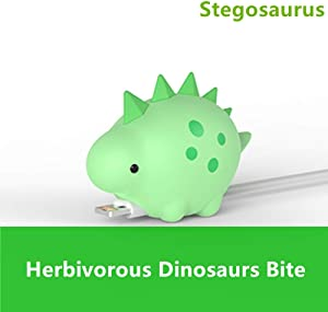 Cable Protector Fits iPhone iPad Android Sumsung Galaxy Cable Plastic Jurassic Plant-Eater Dinosaur Accessory USB Charger Data Protection Cover Chewer Earphone Cord Bite (Green Stegosaurus)