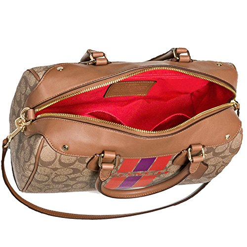 COACH Runway Striped Saddle in Speedy New Khaki Satchel Authentic Bag Logo SALE C Monogram qAwEffC