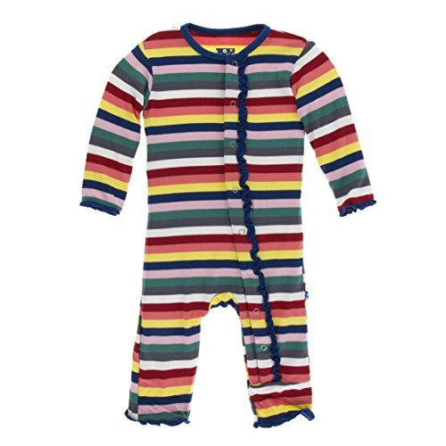 Kickee Pants Little Girls Print Muffin Ruffle Coverall with Snaps - Bright London Stripe, 6-9 Months