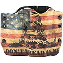 Don't Tread On Me Tan Snake Flag Kydex OWB holsters for more than 200 different handguns. Left & Right versions plus Speed Clips available.