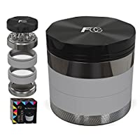 "TOP Premium 5 PIECE Herb Grinder in Stylish Giftbox - Large Unique 2.5"" Aircraft Aluminum Mill with Diamond Teeth & Pollen Catcher for weed tobacco spices. Luxury Pouch included, Ebook & Scraper"