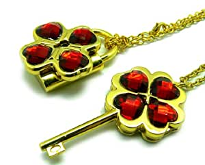 CTMWEB My Guardian Characters Golden Necklace with Dark Red Gem Key Lock Pendant
