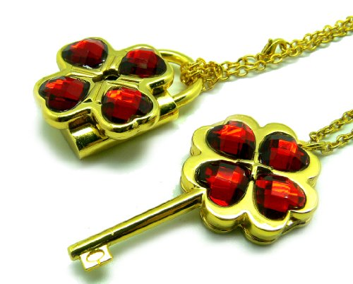 CTMWEB My Guardian Characters Golden Necklace with Dark Red Gem Key Lock Pendant (Lock And Key Costume)